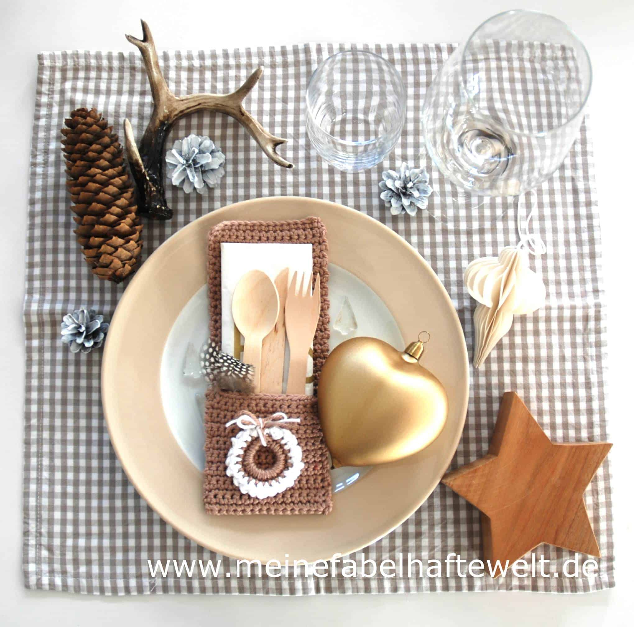 Tischdeko Selbermachen Bestecktaschen Häkeln Zu Weihnachten